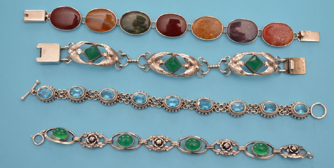 4 Stone & Sterling Silver Bracelets - 2
