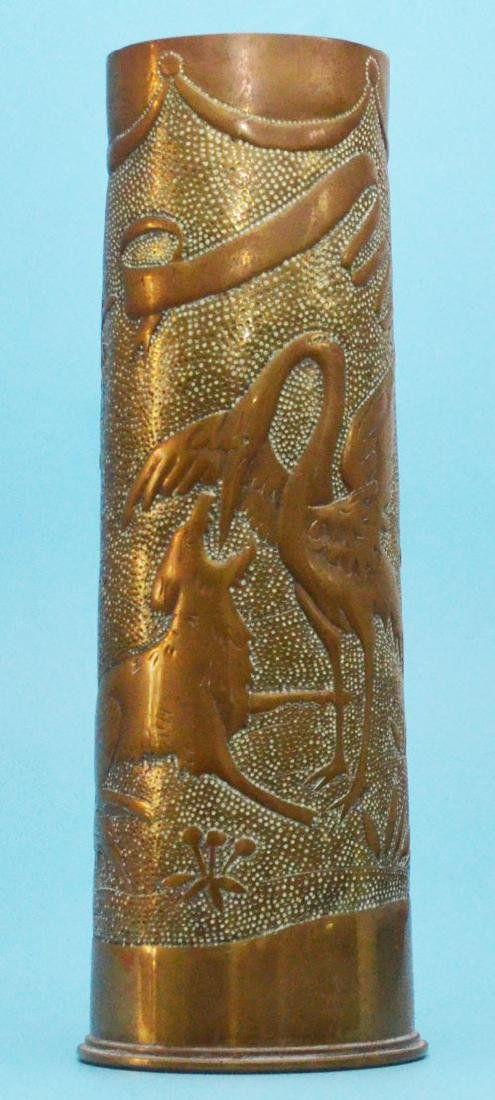 Large  Ornate Antique Trench Art Shell Vase ( Bird &