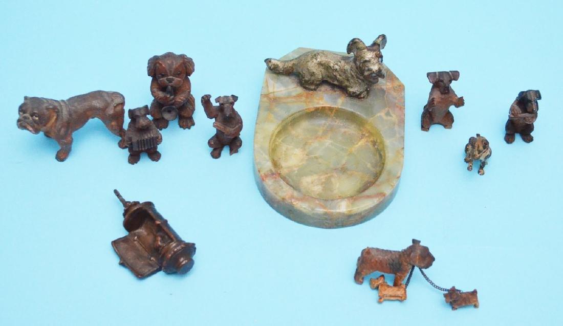 Fun Antique Dog Lot  & Lantern ( Bronze, Wood, Cold