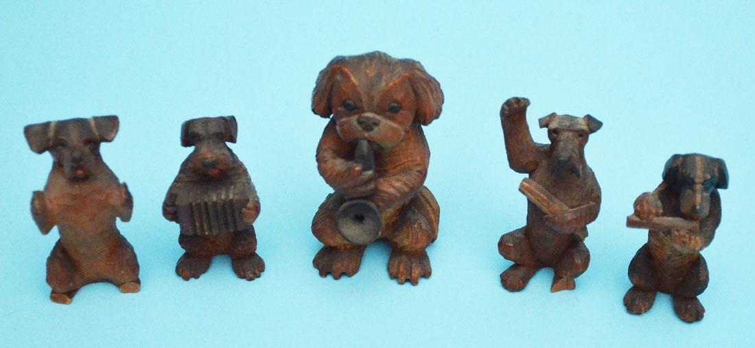 Fun Antique Dog Lot  & Lantern ( Bronze, Wood, Cold - 3