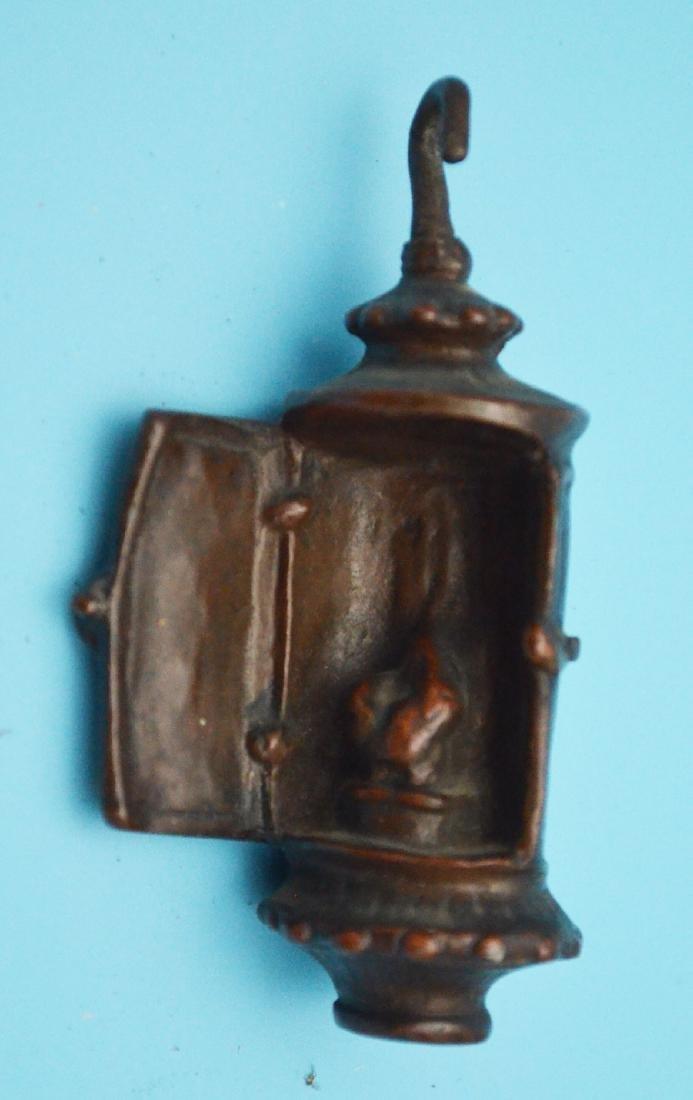 Fun Antique Dog Lot  & Lantern ( Bronze, Wood, Cold - 5