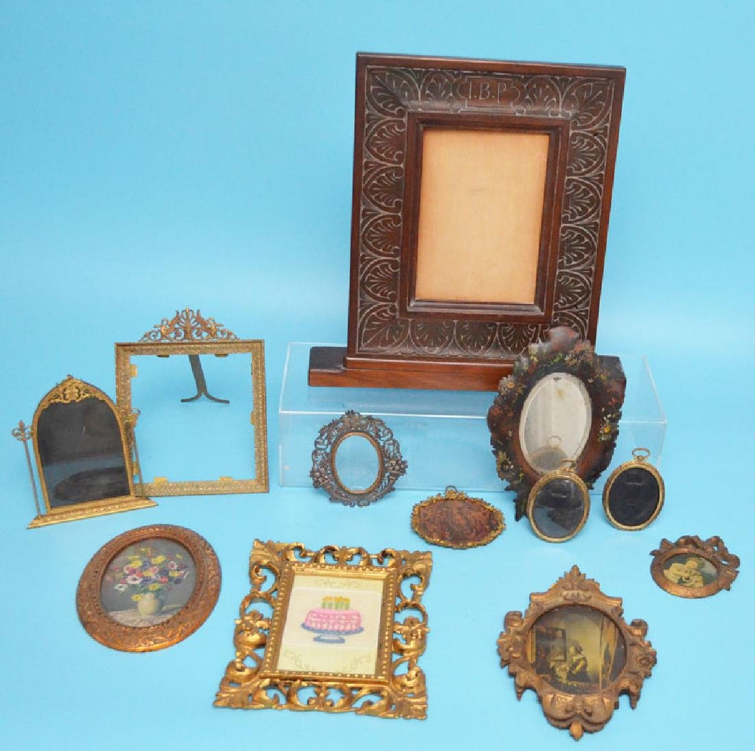 Lot Of Antique Bronze, Brass And Carved Wood Frames