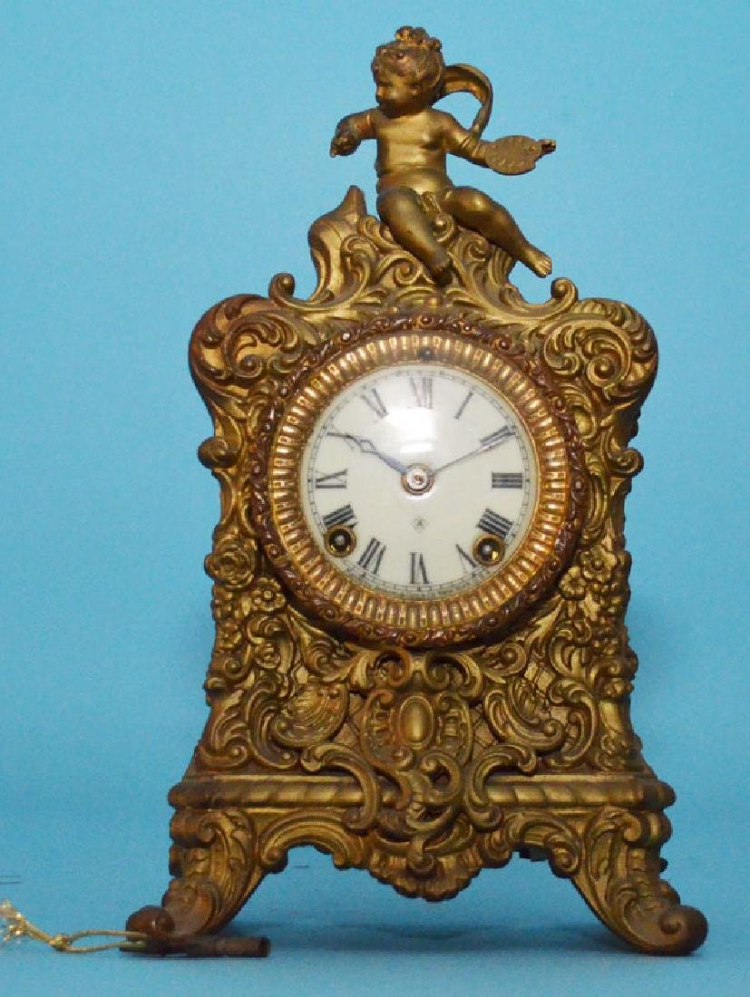 Antique Ornate Ansonia Spelter  Clock  With Putti