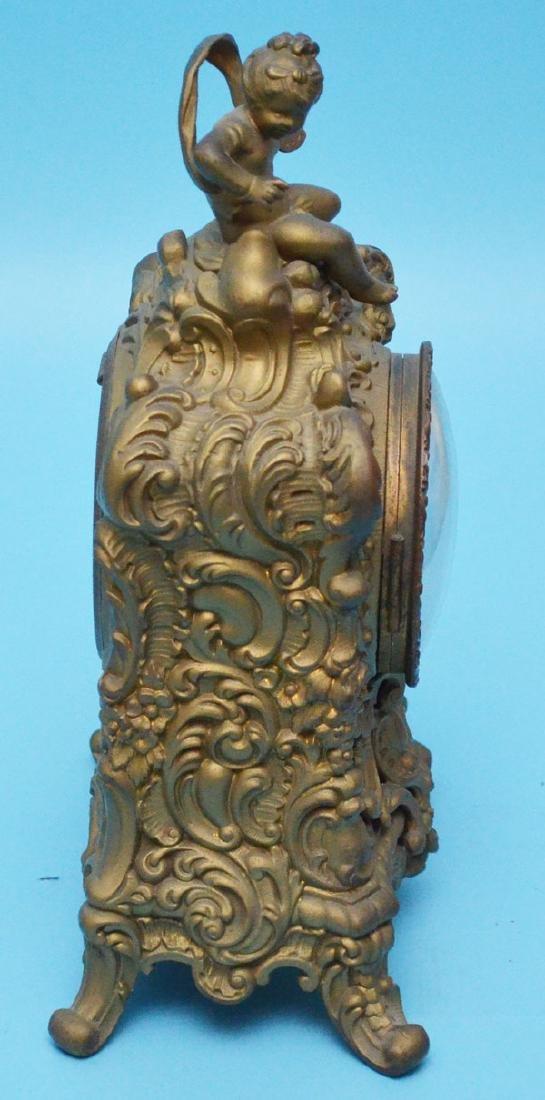 Antique Ornate Ansonia Spelter  Clock  With Putti - 2