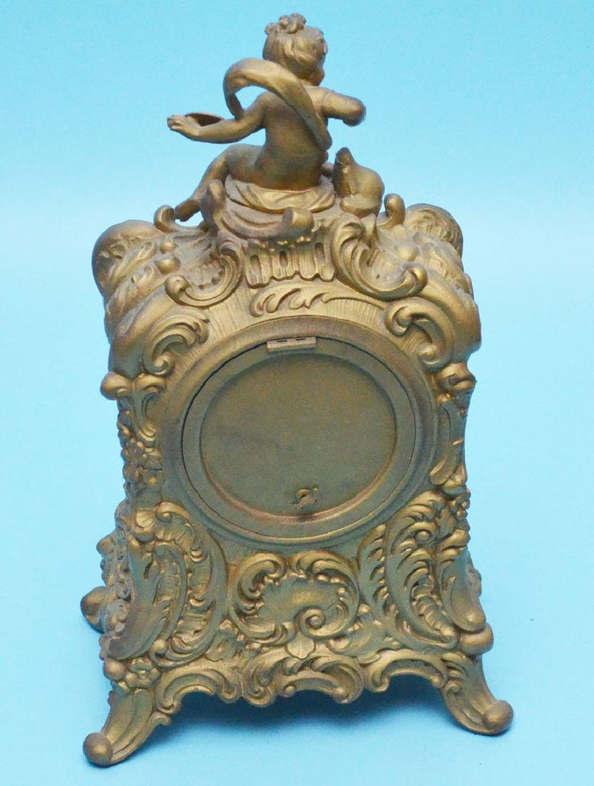 Antique Ornate Ansonia Spelter  Clock  With Putti - 3