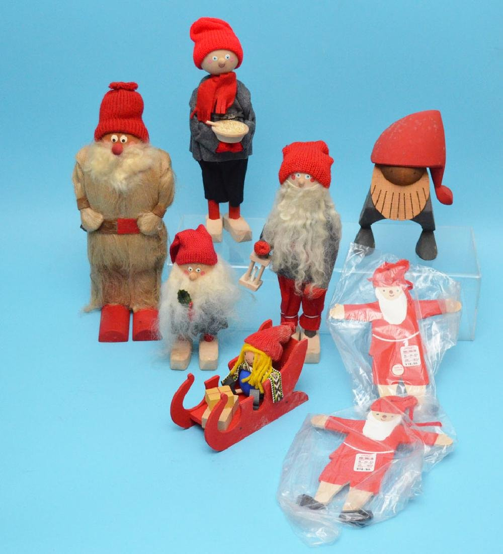 Lot Of 8 Swedish Wood Carved Christmas Knome People