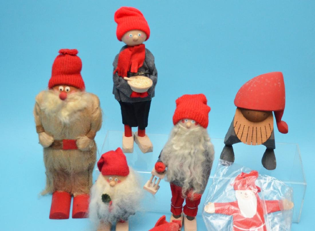 Lot Of 8 Swedish Wood Carved Christmas Knome People - 2