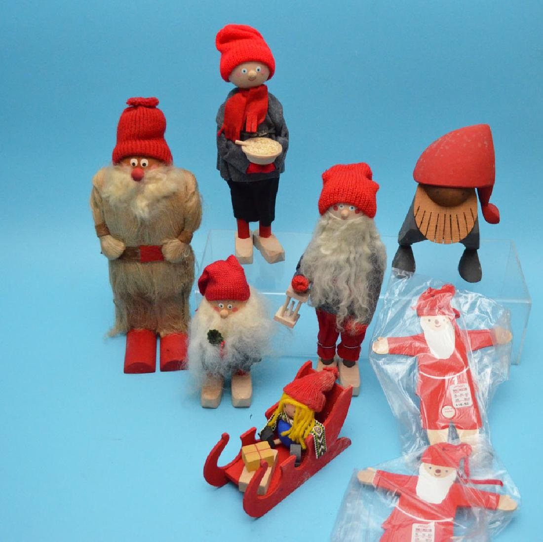 Lot Of 8 Swedish Wood Carved Christmas Knome People - 3