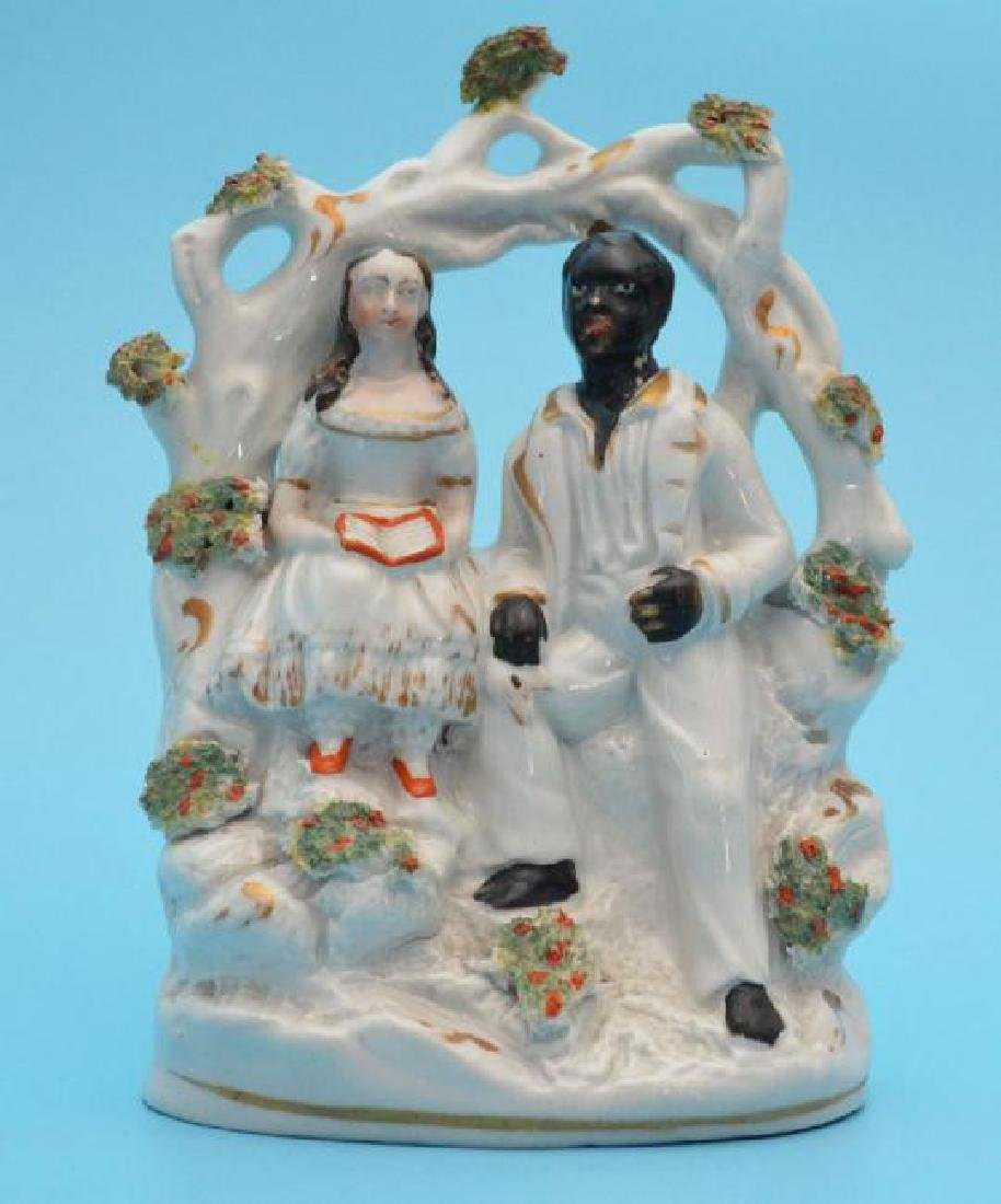 Antique Staffordshire Figure Of Uncle Tom & Eva