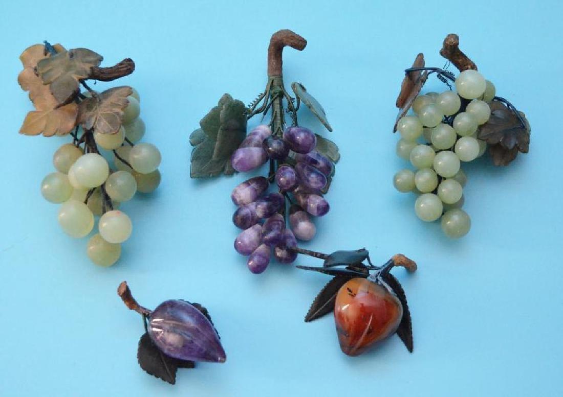 5 Vintage Stone Fruits (Jade, Amethyst, Carnelian)