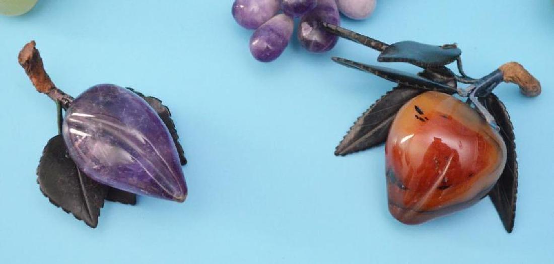 5 Vintage Stone Fruits (Jade, Amethyst, Carnelian) - 3