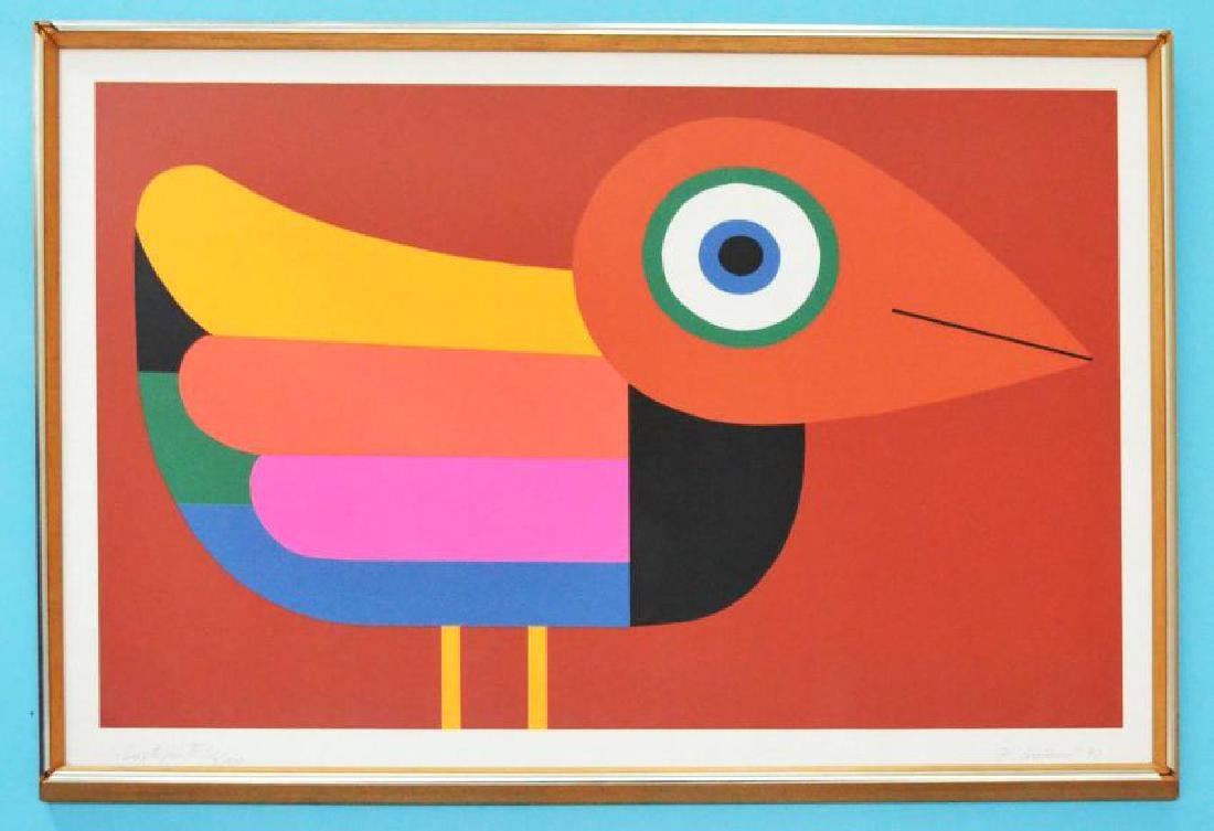 Signed Mid Century Litho Of A Bright Colored Bird