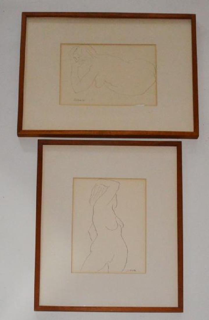 2 Signed Steve Wada Nude Line Drawings