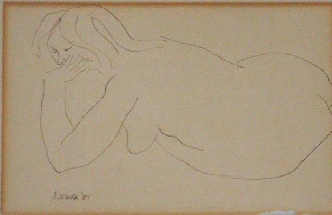 2 Signed Steve Wada Nude Line Drawings - 2