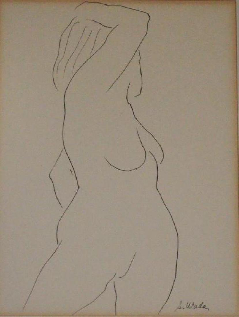 2 Signed Steve Wada Nude Line Drawings - 3