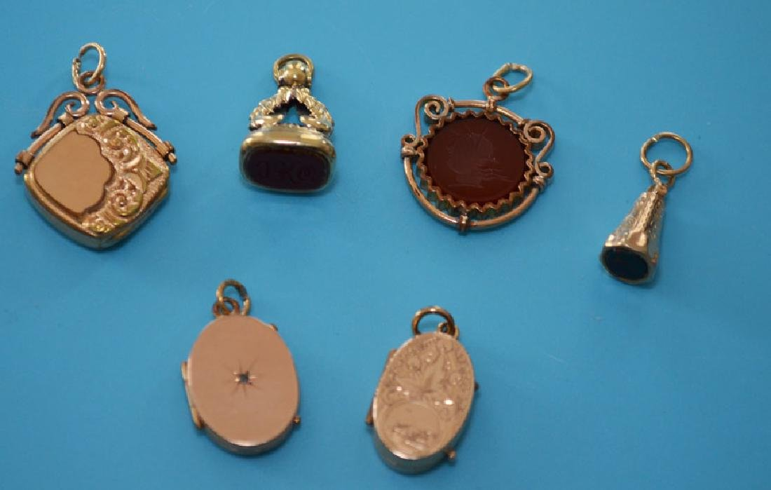 Lot of Victorian Gold (Carnelian Seal, Lockets)