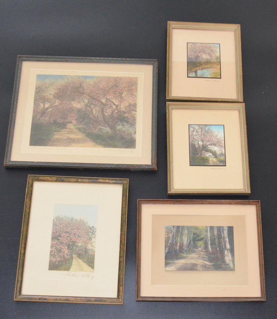 5 Antique Wallace Nutting Hand Colored Pictures