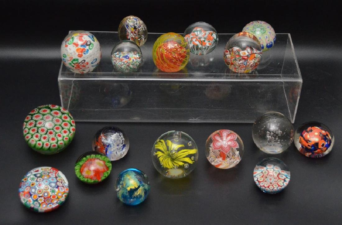 17 Vintage Glass Paperweights (Millefiori, etc.)