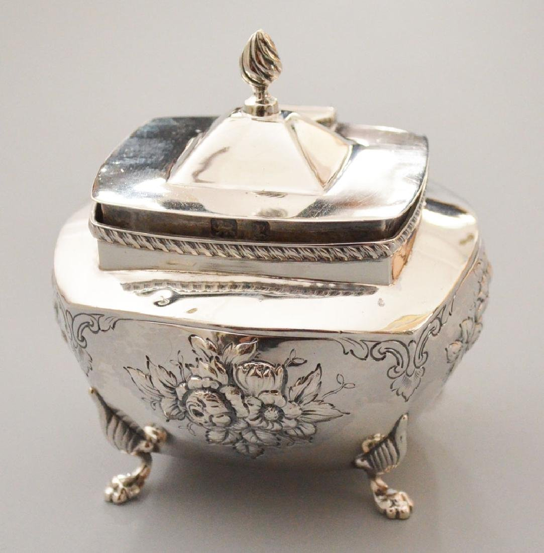 English Floral Repousse Sterling Silver Sugar Bowl