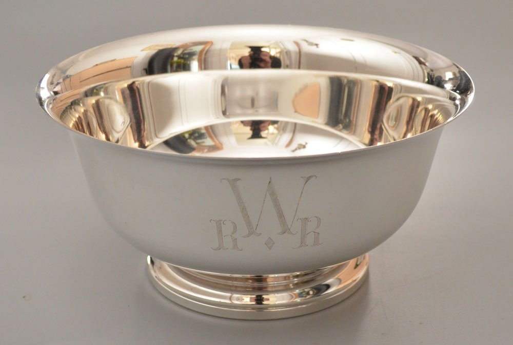 Large Paul Revere Style Sterling Silver Bowl