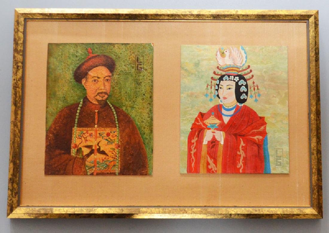 Chinese Portrait Painting Signed Lorna De Gallegos