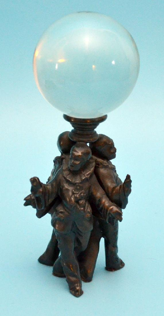 Whimsical Figural Bronze Of Clowns & Crystal Ball