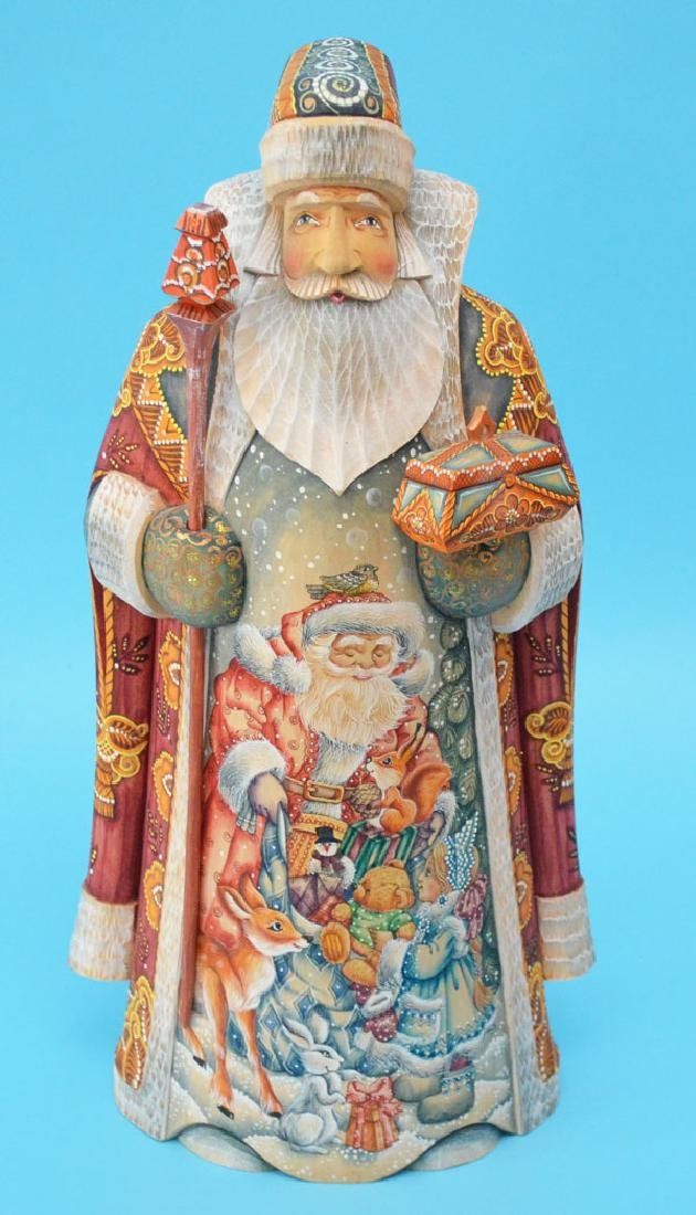 Carved Hand Painted Russian Santa Figure