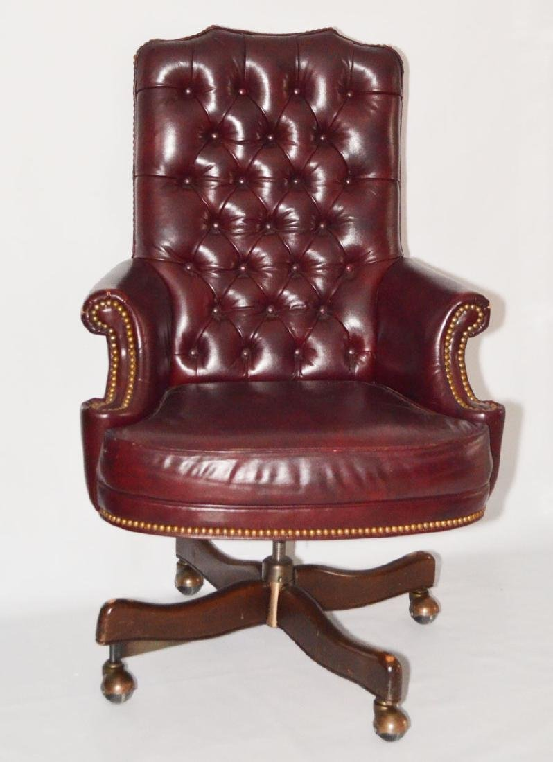 Handsome  Leather & Brass Tack Desk Chair