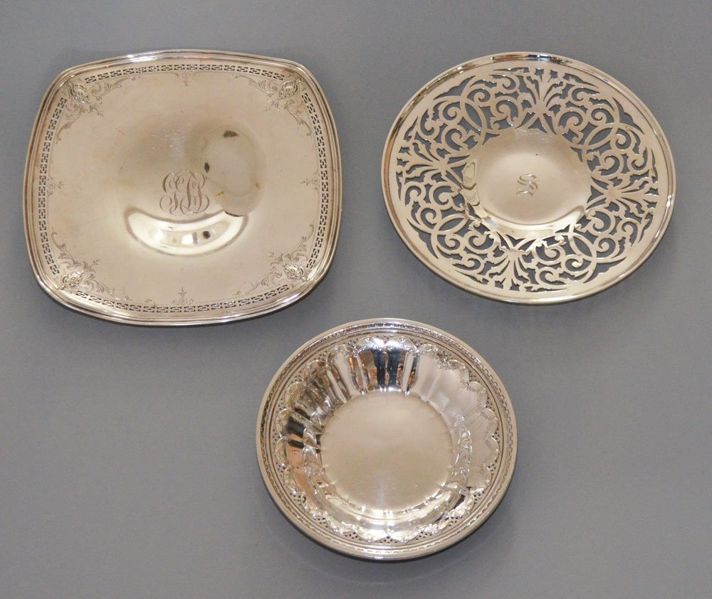 3 Very Nice Sterling Silver Serving Trays & Bowls