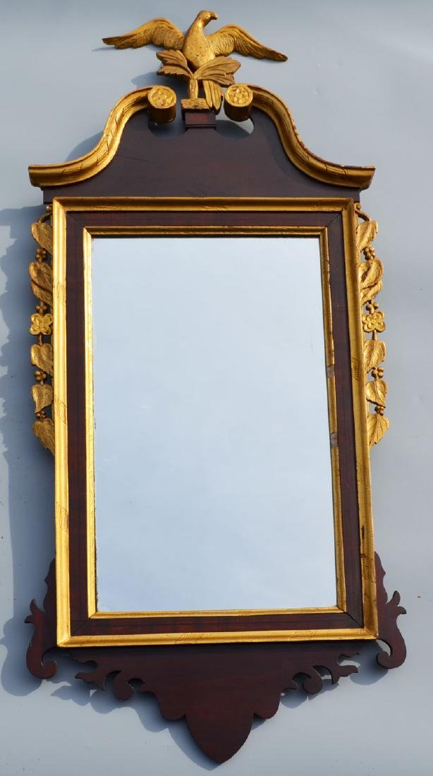 Exceptional Federal  Mirror With Gilt Eagle Finial