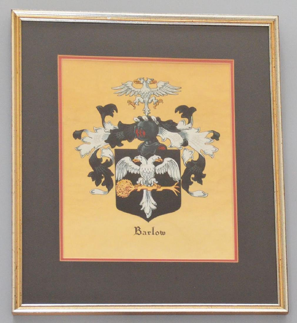 Hand Painted Framed Barlow Coat Of Arms
