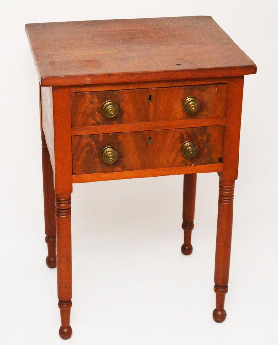 2 Drawer Antique Flame Mahogany Work Stand