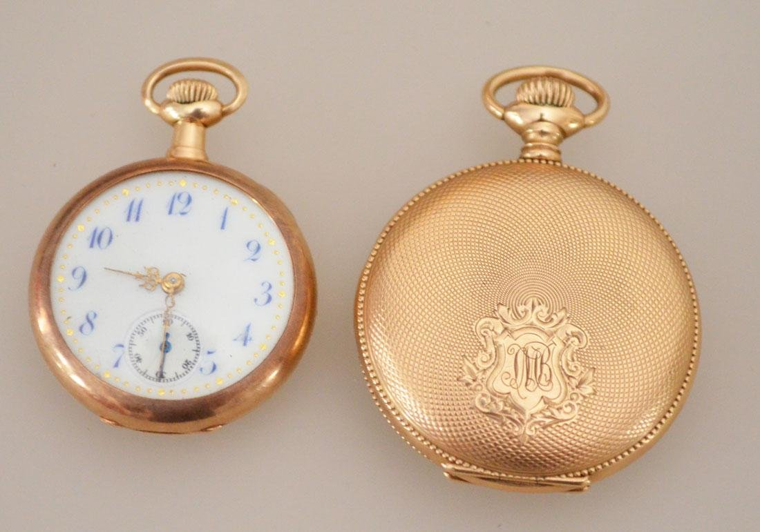 2 14k Gold Pocket Watches (  Waltham , Open Face )