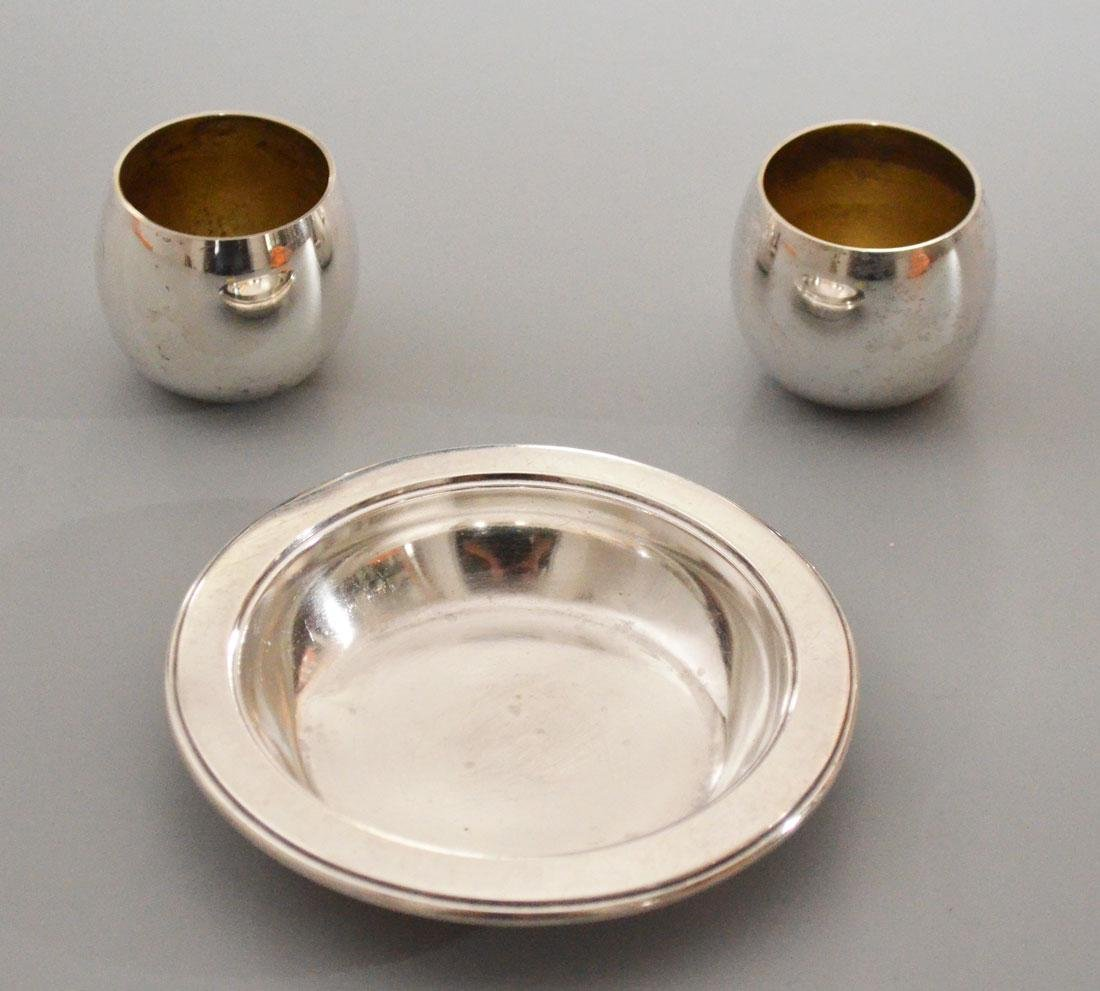 Tiffany Sterling Condiment Dish And 2 Saki Cups