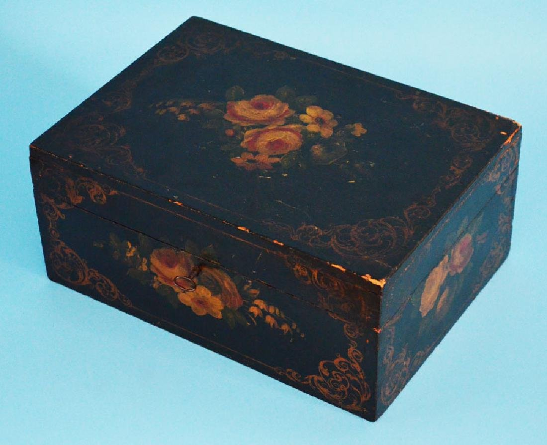 Hand Painted Antique Document/ Jewelry  Box & Key