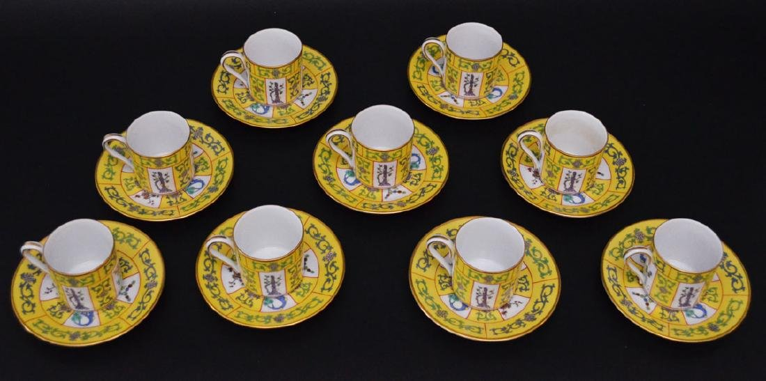 17 Herend Yellow Dynasty Demi Tasse Cups & Saucers