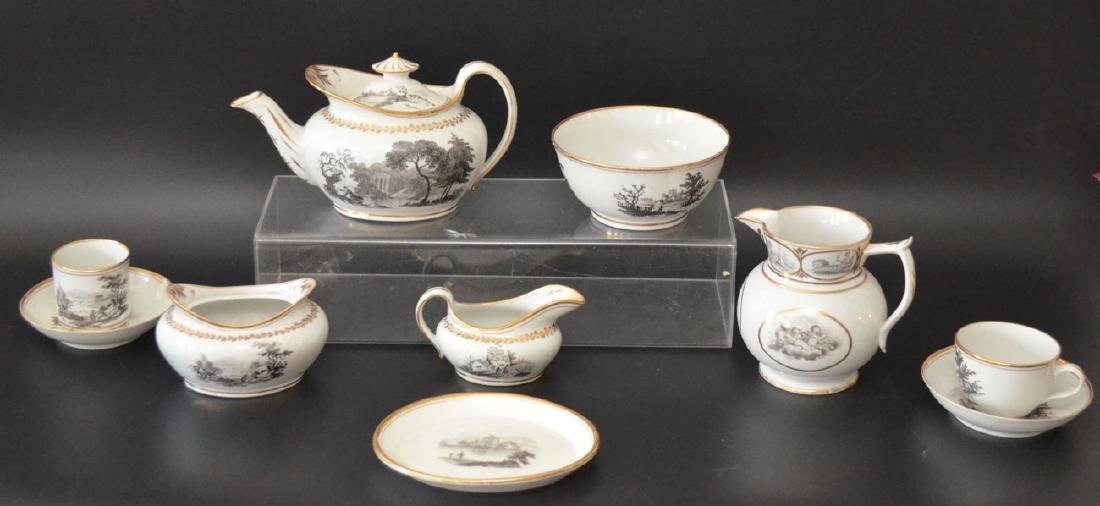 A Grisaille Decorated Staffordshire Tea Service