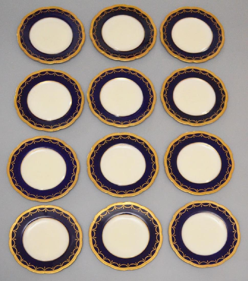 11 Cobalt Gold Encrusted Royal Worcester Plates