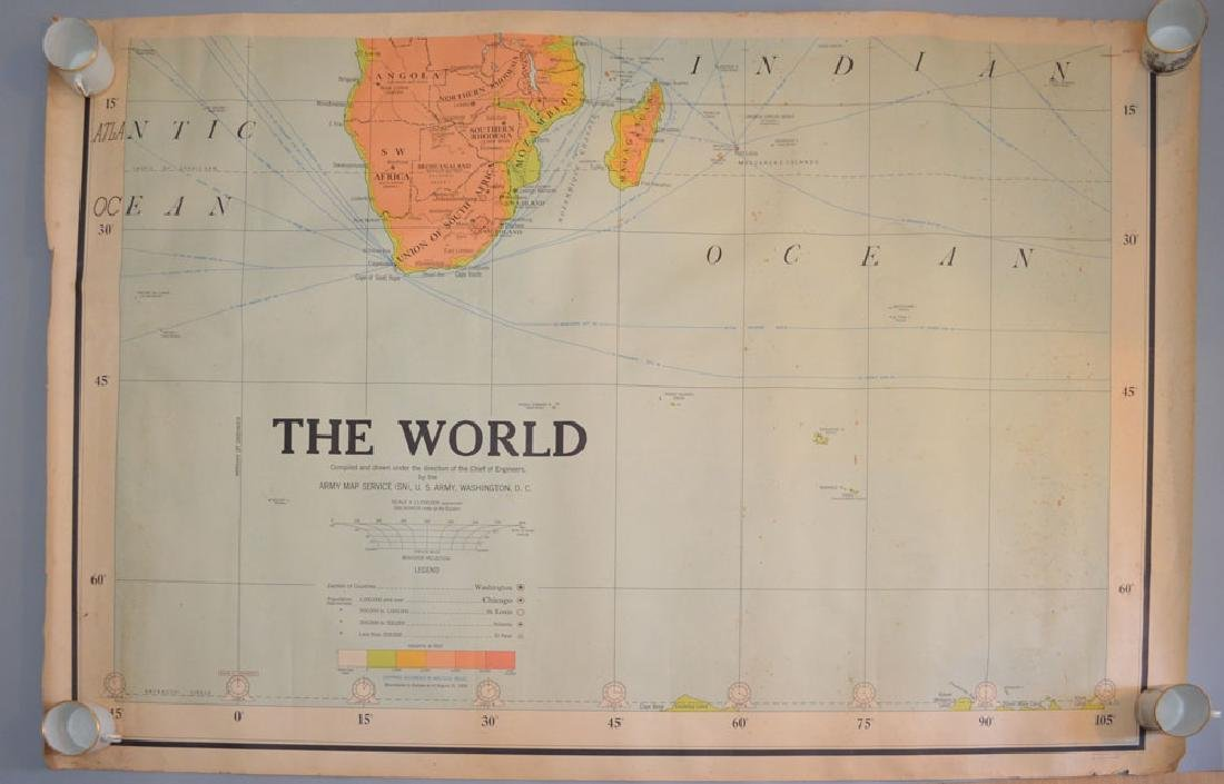 Lot Of 9 Vintage Maps ( World Maps, US Army 1939 )