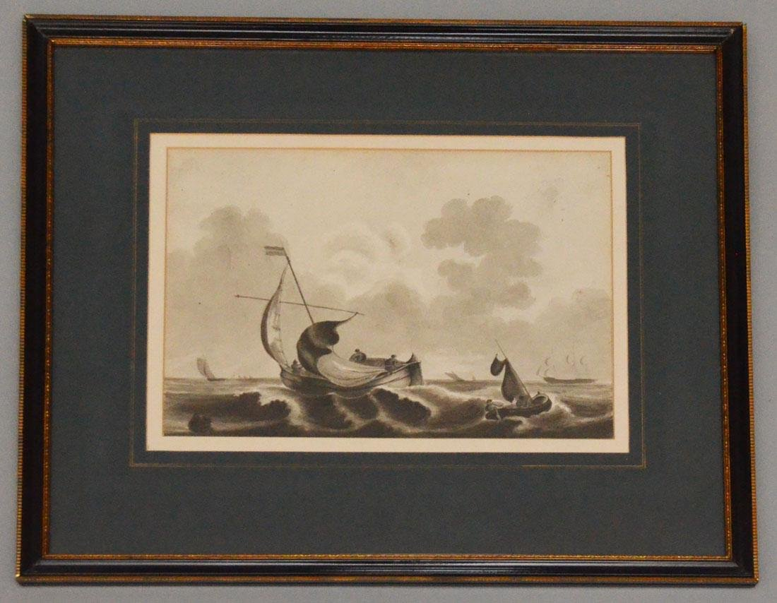 American School Watercolor On Paper Of sailing Ships