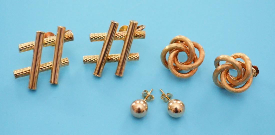 3 Great Pairs Of 14K Gold Earrings
