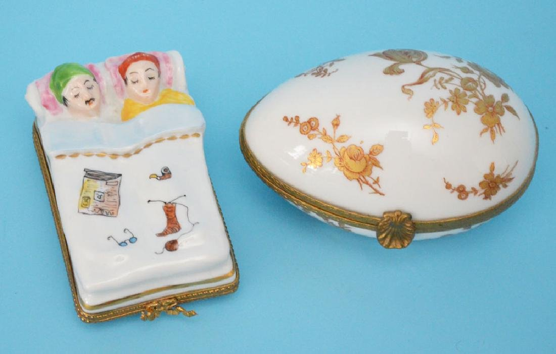 Lot of Enamel & Limoges Porcelain Boxes - 5