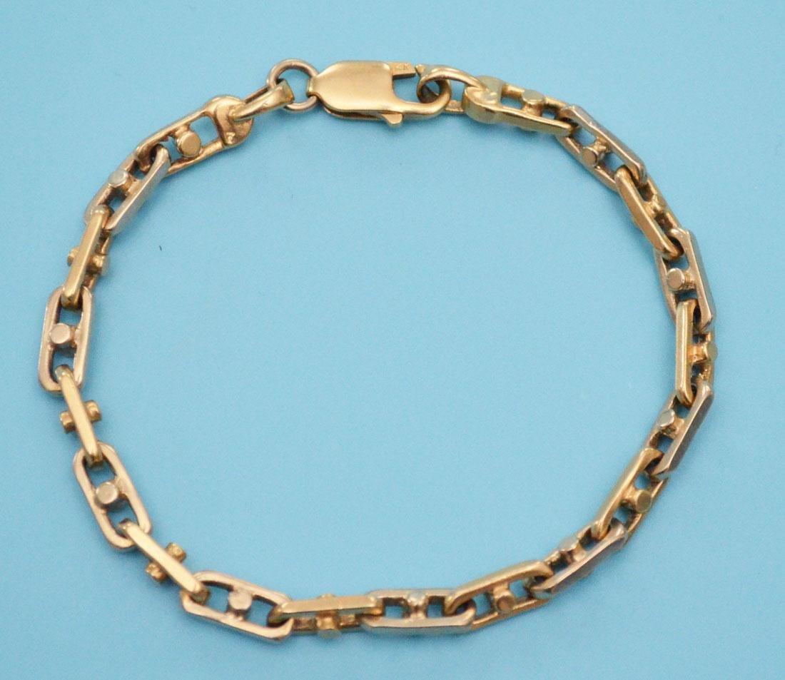 Two Tone 14k Gold Vintage Link Bracelet