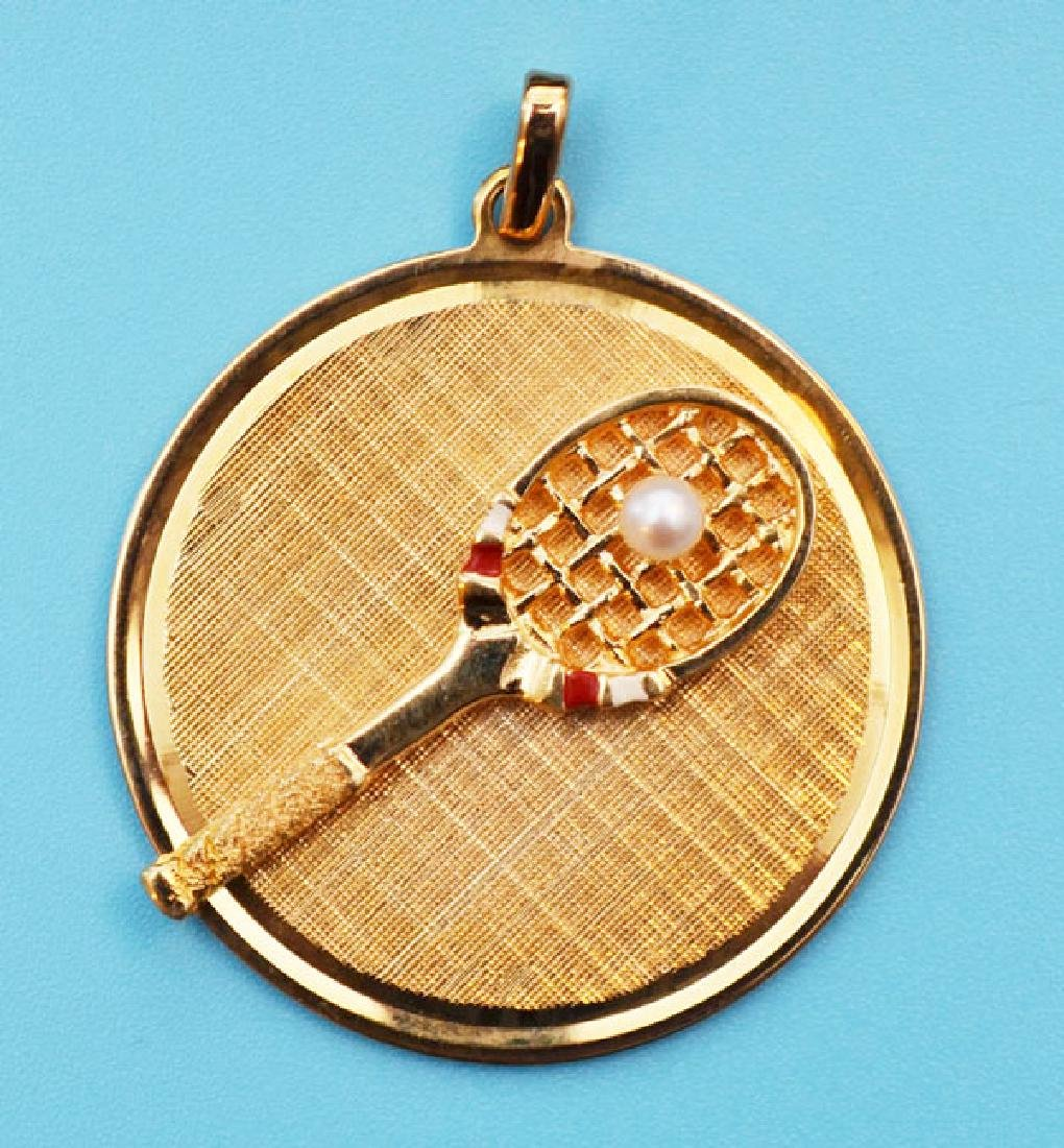 Tennis Lovers 14k Gold Tennis Racket Pendant