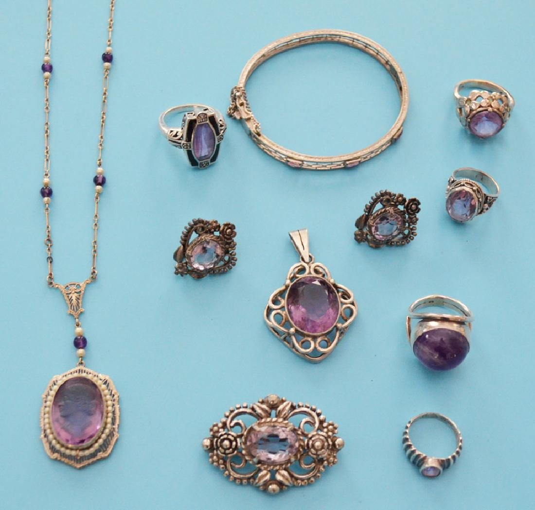 Great Lot of Amethyst & Sterling Silver Jewelry