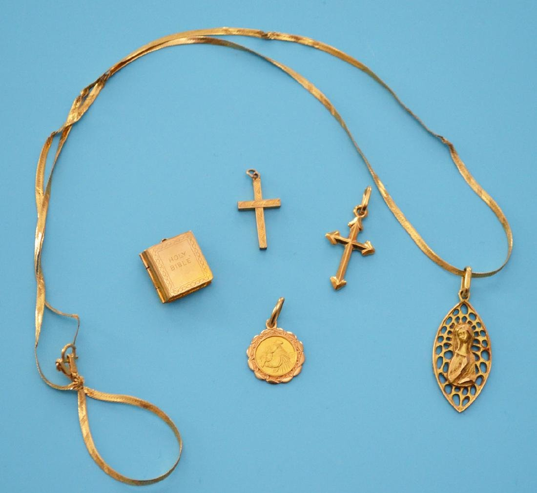 14K Gold Religious Lot ( Charms Cross, Pendant
