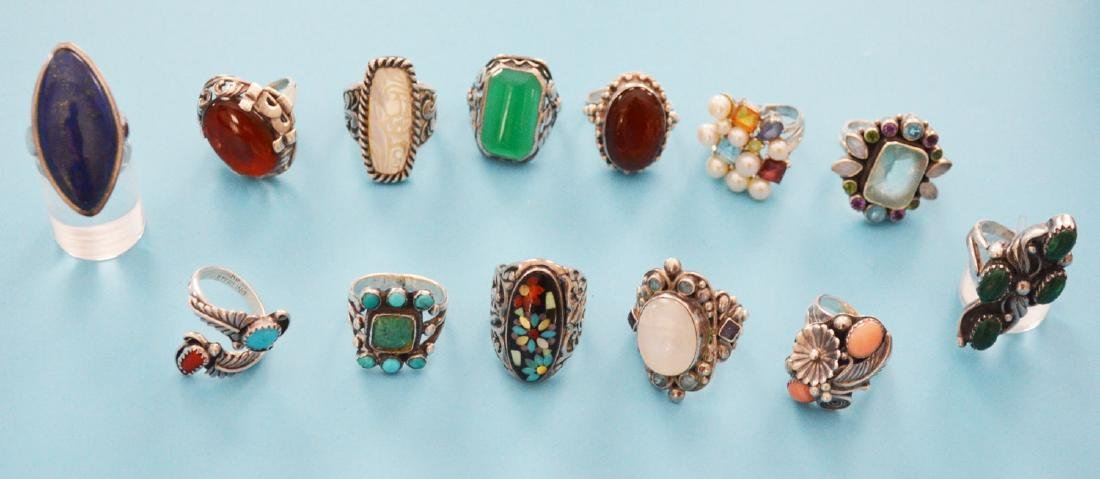 13 Sterling Silver & Stone Rings (inc Native American)