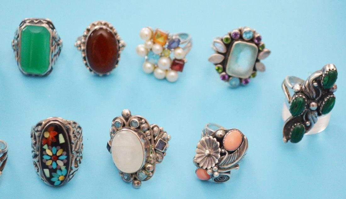 13 Sterling Silver & Stone Rings (inc Native American) - 2