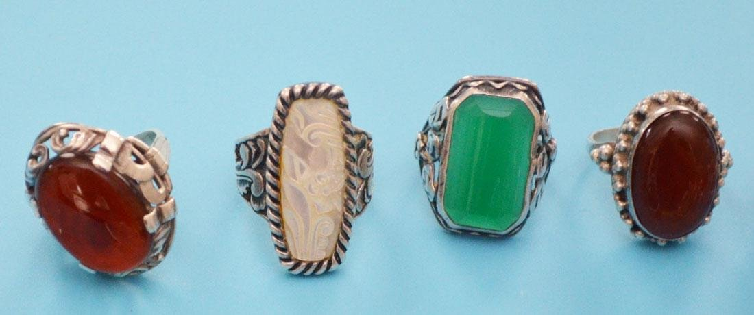 13 Sterling Silver & Stone Rings (inc Native American) - 3