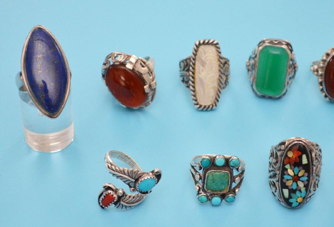 13 Sterling Silver & Stone Rings (inc Native American) - 4